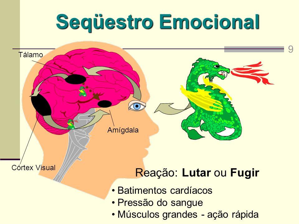 Amígdala Seqüestro Emocional Tálamo Córtex Visual Reação: Lutar ou Fugir Batimentos cardíacos Pressão do sangue Músculos grandes - ação rápida 9