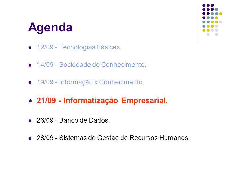 Agenda 12/09 - Tecnologias Básicas. 14/09 - Sociedade do Conhecimento. 19/09 - Informação x Conhecimento. 21/09 - Informatização Empresarial. 26/09 -