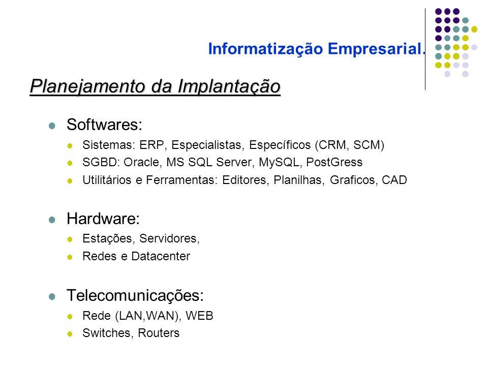 Planejamento da Implantação Softwares: Sistemas: ERP, Especialistas, Específicos (CRM, SCM) SGBD: Oracle, MS SQL Server, MySQL, PostGress Utilitários