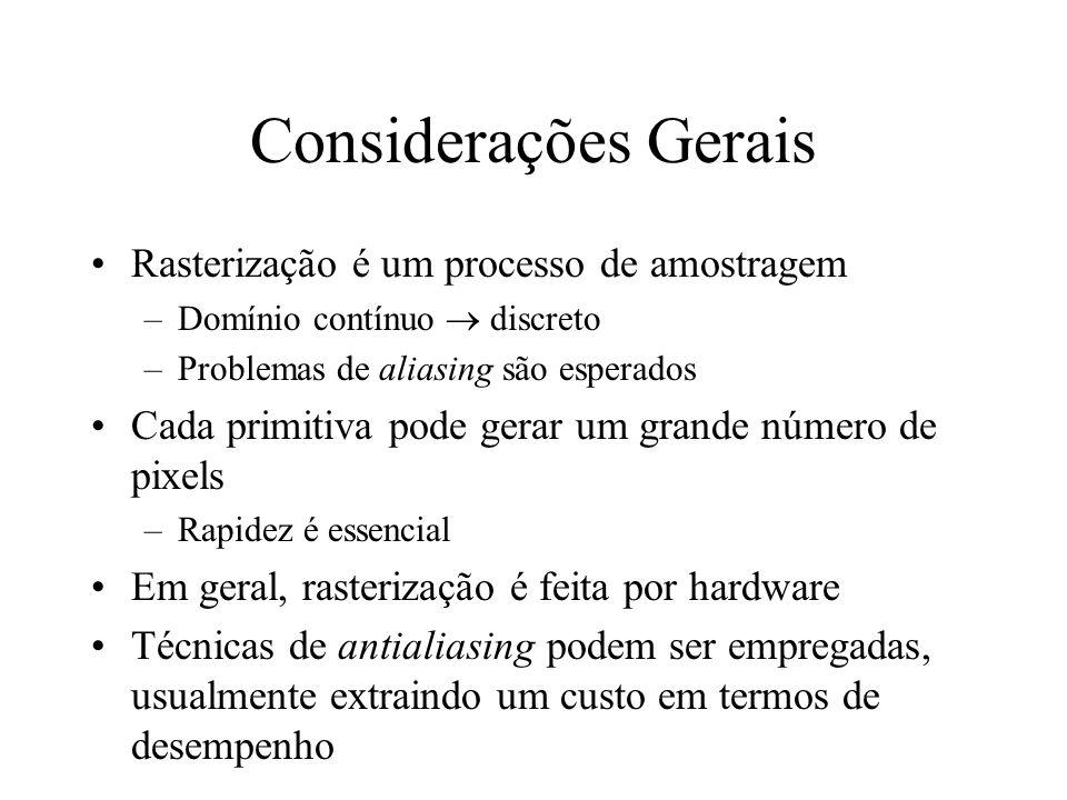 Considerações Gerais Rasterização é um processo de amostragem –Domínio contínuo discreto –Problemas de aliasing são esperados Cada primitiva pode gera
