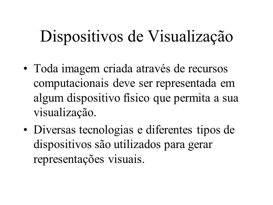 Dispositivos de Visualização É possível classificar os dispositivos de exibição (traçadores, impressoras e terminais de vídeo) em duas principais categorias, segundo a forma pela qual as imagens são geradas: Dispositivos vetoriais: traçadores digitais, osciloscópio e monitor CRT (Cathode Ray Tube).