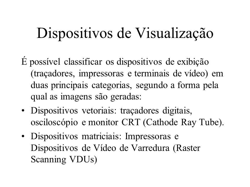 Dispositivos de Visualização É possível classificar os dispositivos de exibição (traçadores, impressoras e terminais de vídeo) em duas principais cate