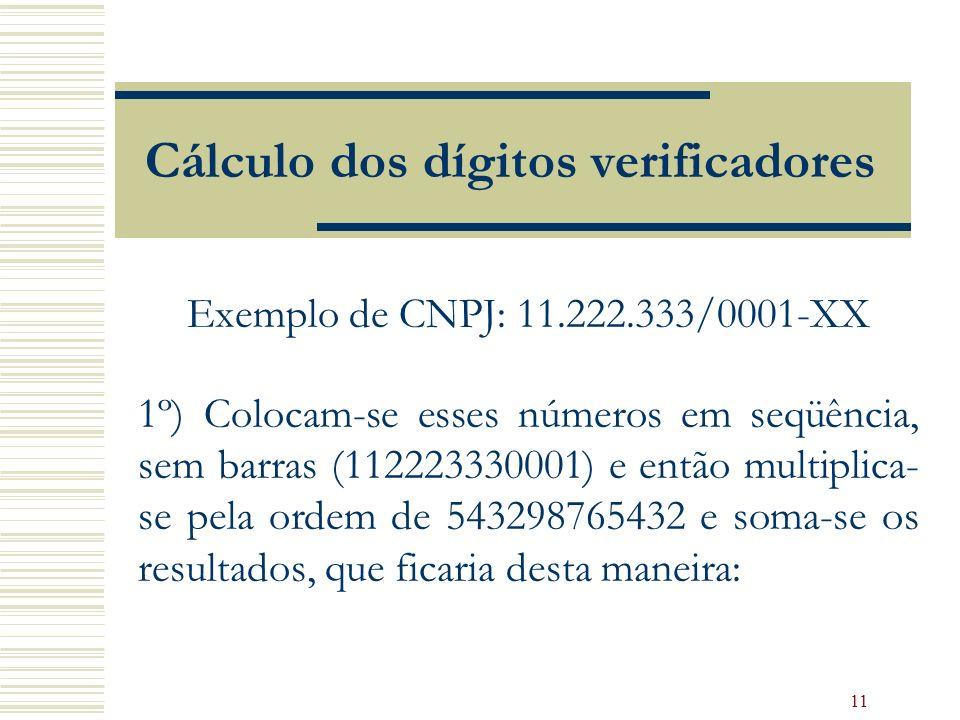 11 Cálculo dos dígitos verificadores Exemplo de CNPJ: 11.222.333/0001-XX 1º) Colocam-se esses números em seqüência, sem barras (112223330001) e então multiplica- se pela ordem de 543298765432 e soma-se os resultados, que ficaria desta maneira: