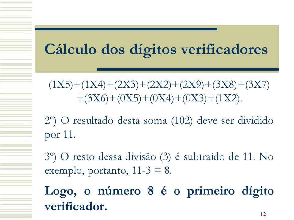 12 Cálculo dos dígitos verificadores (1X5)+(1X4)+(2X3)+(2X2)+(2X9)+(3X8)+(3X7) +(3X6)+(0X5)+(0X4)+(0X3)+(1X2). 2º) O resultado desta soma (102) deve s