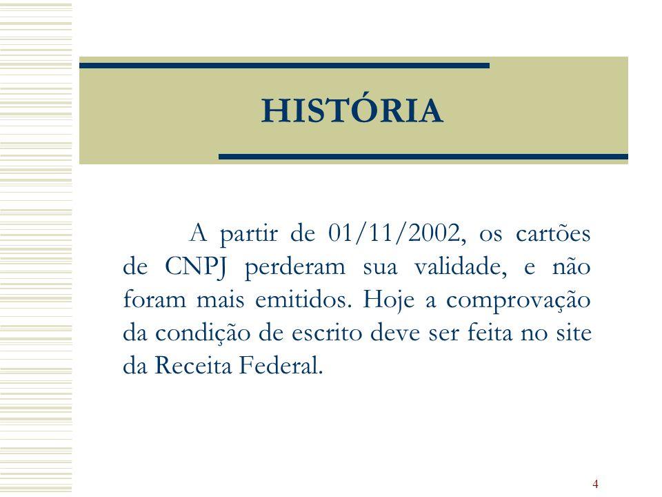 4 HISTÓRIA A partir de 01/11/2002, os cartões de CNPJ perderam sua validade, e não foram mais emitidos. Hoje a comprovação da condição de escrito deve