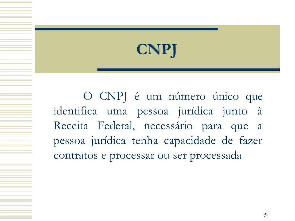5 CNPJ O CNPJ é um número único que identifica uma pessoa jurídica junto à Receita Federal, necessário para que a pessoa jurídica tenha capacidade de fazer contratos e processar ou ser processada
