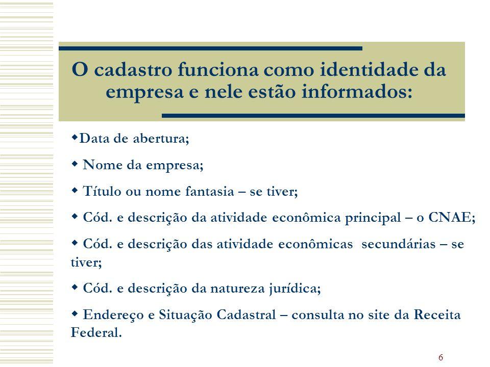 6 O cadastro funciona como identidade da empresa e nele estão informados: Data de abertura; Nome da empresa; Título ou nome fantasia – se tiver; Cód.