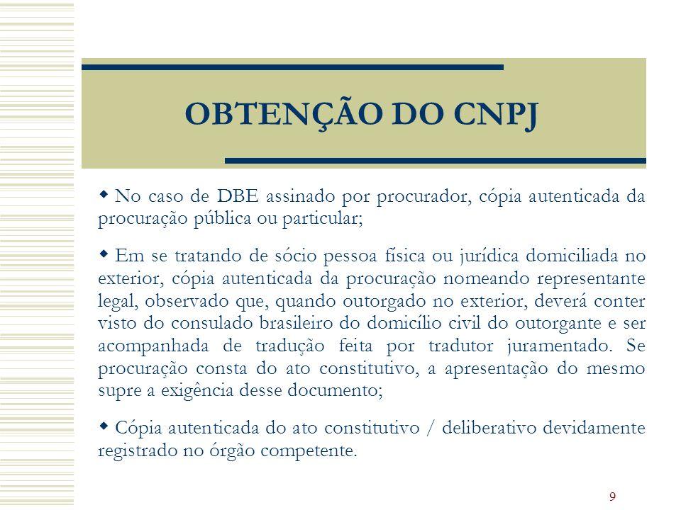 9 OBTENÇÃO DO CNPJ No caso de DBE assinado por procurador, cópia autenticada da procuração pública ou particular; Em se tratando de sócio pessoa físic