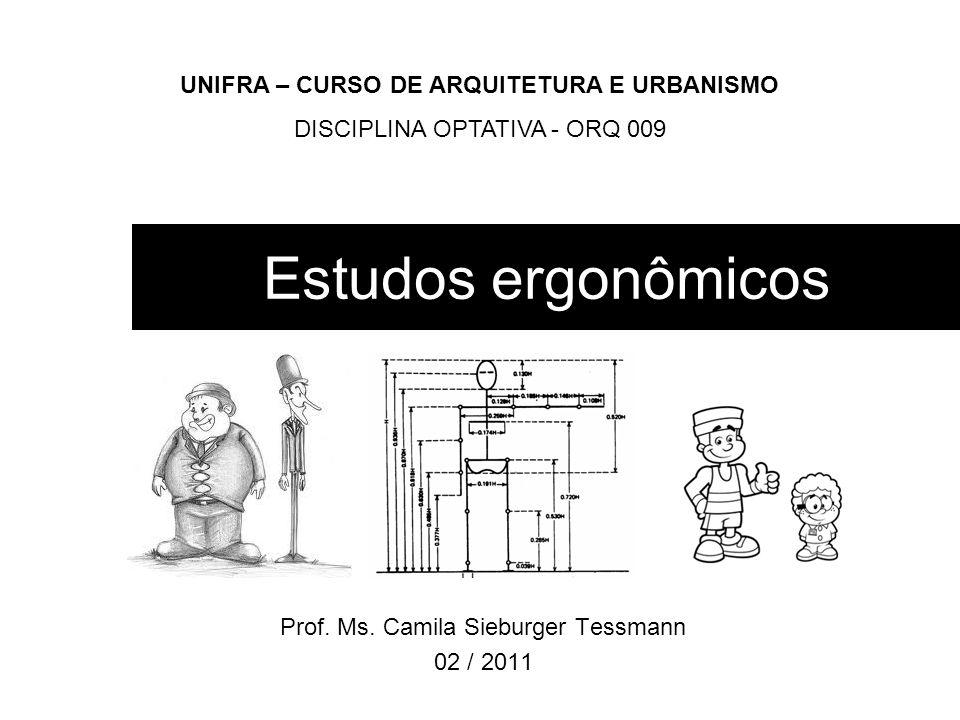 Estudos ergonômicos Prof. Ms. Camila Sieburger Tessmann 02 / 2011 UNIFRA – CURSO DE ARQUITETURA E URBANISMO DISCIPLINA OPTATIVA - ORQ 009