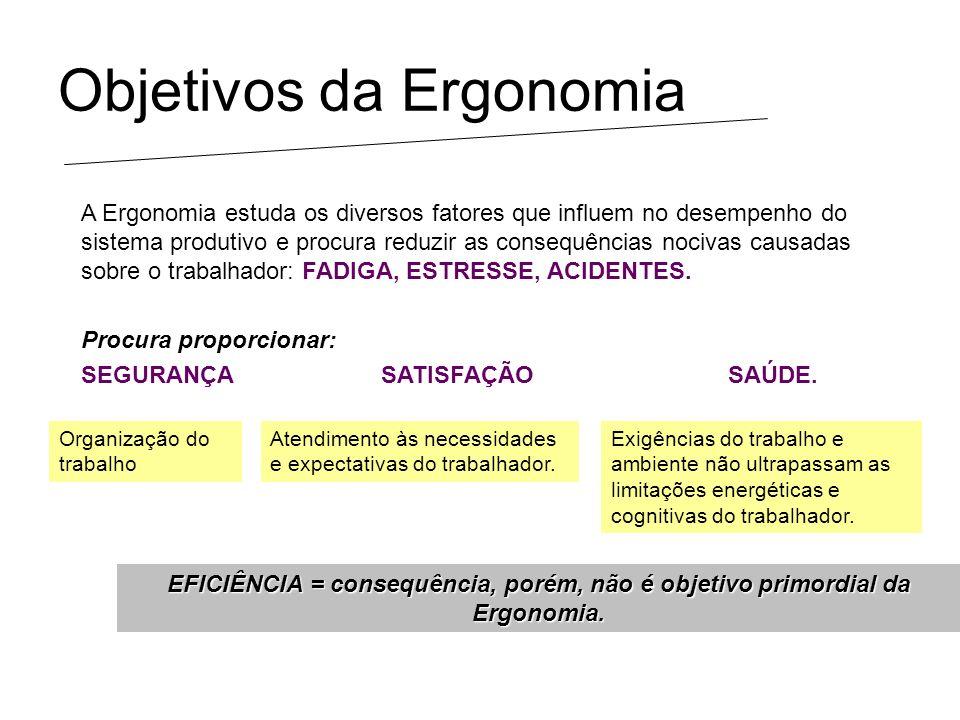 Objetivos da Ergonomia A Ergonomia estuda os diversos fatores que influem no desempenho do sistema produtivo e procura reduzir as consequências nociva