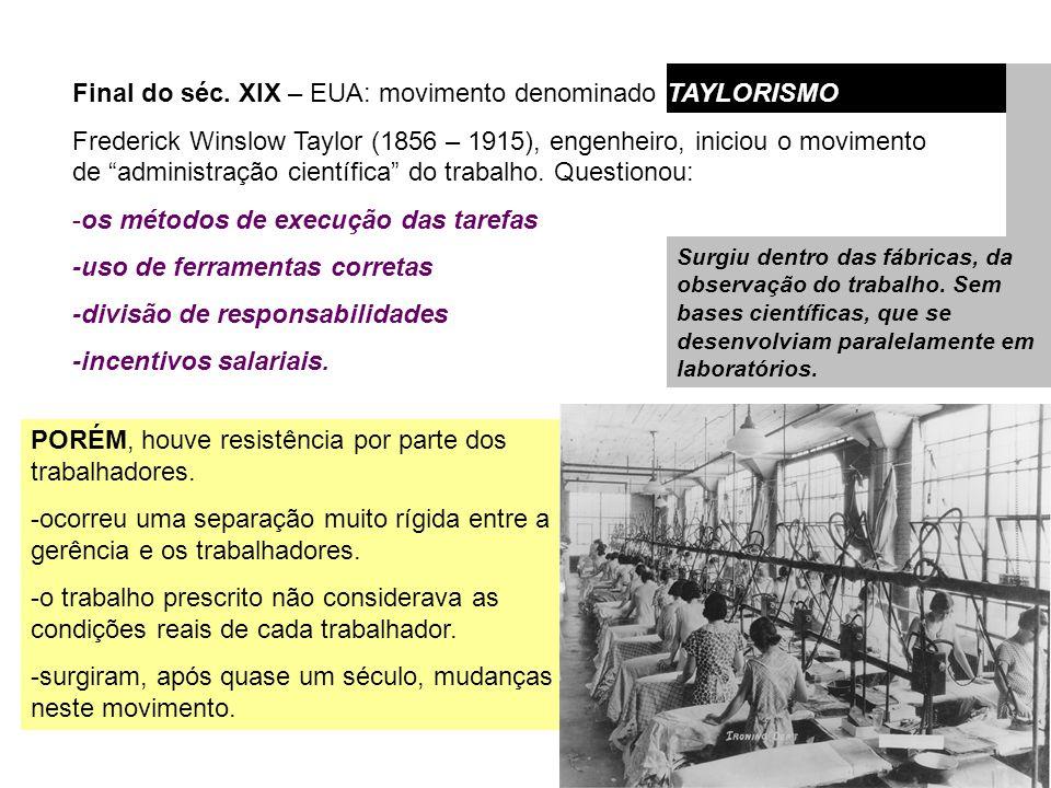 Final do séc. XIX – EUA: movimento denominado TAYLORISMO Frederick Winslow Taylor (1856 – 1915), engenheiro, iniciou o movimento de administração cien