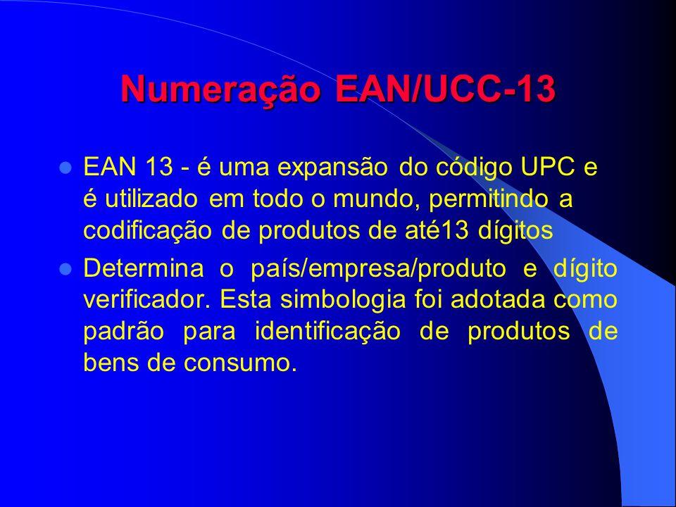 Numeração EAN/UCC-13 EAN 13 - é uma expansão do código UPC e é utilizado em todo o mundo, permitindo a codificação de produtos de até13 dígitos Determ