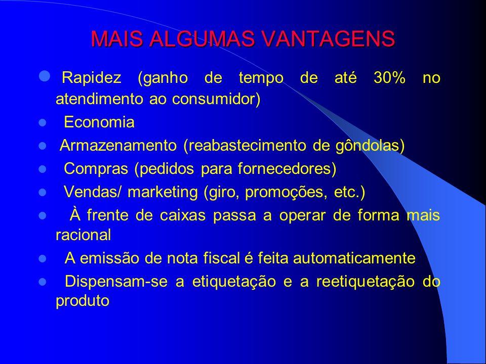 MAIS ALGUMAS VANTAGENS Rapidez (ganho de tempo de até 30% no atendimento ao consumidor) Economia Armazenamento (reabastecimento de gôndolas) Compras (