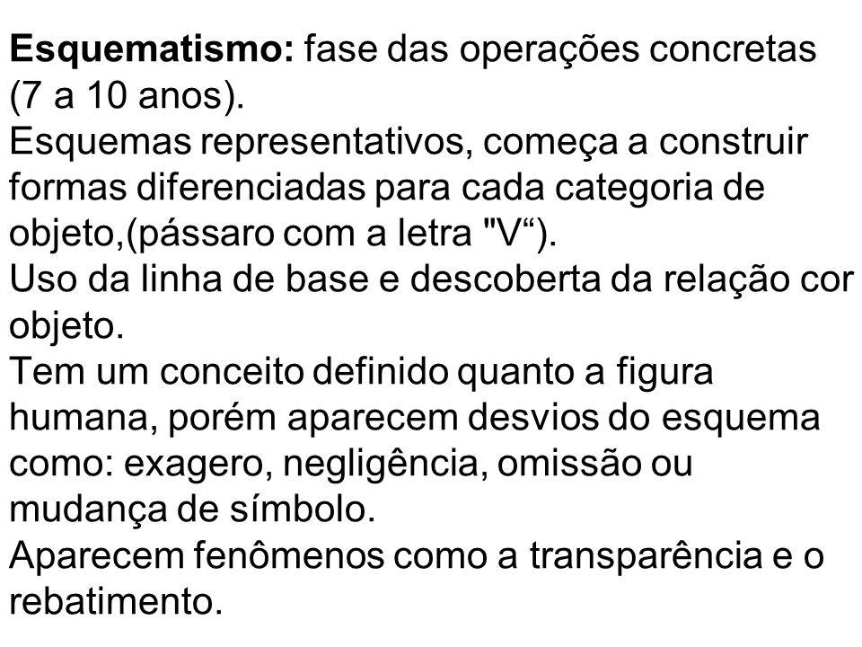 Esquematismo: fase das operações concretas (7 a 10 anos). Esquemas representativos, começa a construir formas diferenciadas para cada categoria de obj