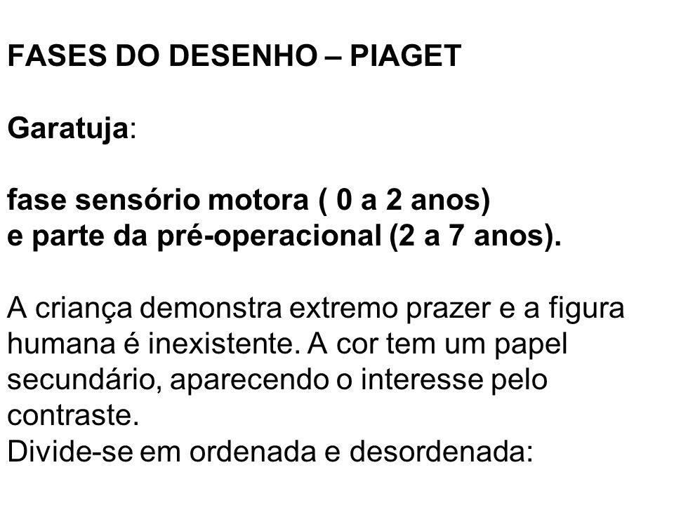 FASES DO DESENHO – PIAGET Garatuja: fase sensório motora ( 0 a 2 anos) e parte da pré-operacional (2 a 7 anos). A criança demonstra extremo prazer e a