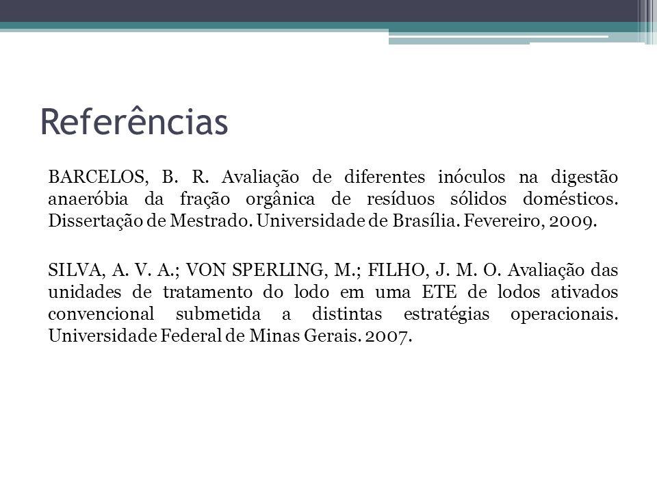 Referências BARCELOS, B. R. Avaliação de diferentes inóculos na digestão anaeróbia da fração orgânica de resíduos sólidos domésticos. Dissertação de M