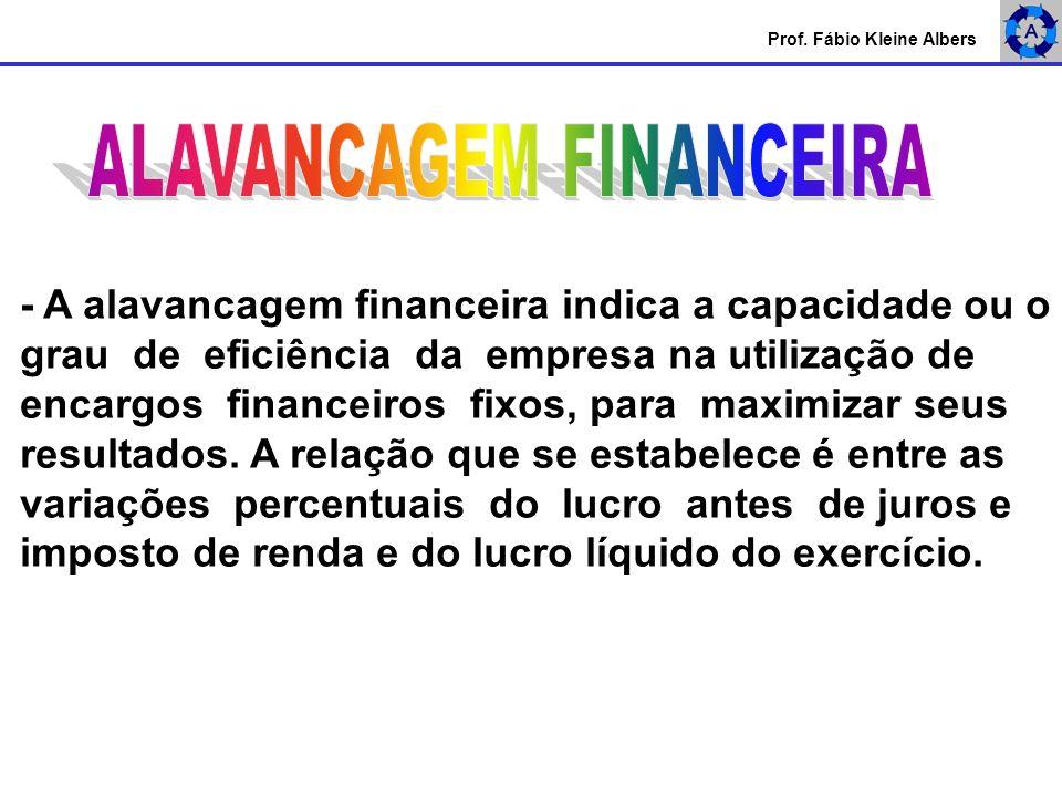 - A alavancagem financeira indica a capacidade ou o grau de eficiência da empresa na utilização de encargos financeiros fixos, para maximizar seus res