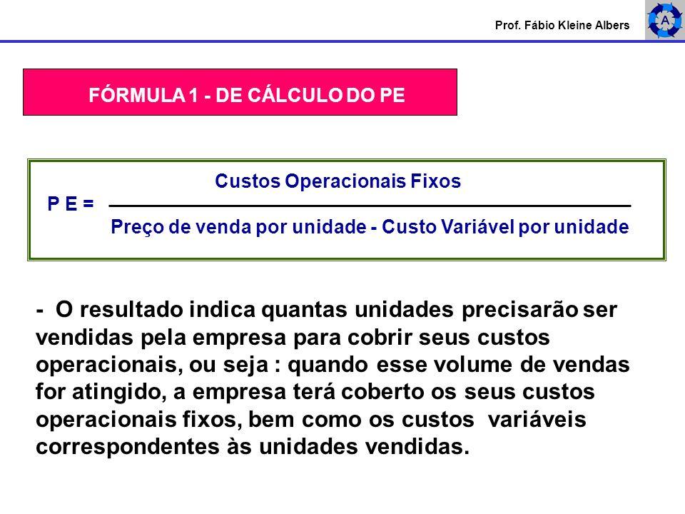 Prof. Fábio Kleine Albers FÓRMULA 1 - DE CÁLCULO DO PE Custos Operacionais Fixos P E = Preço de venda por unidade - Custo Variável por unidade - O res