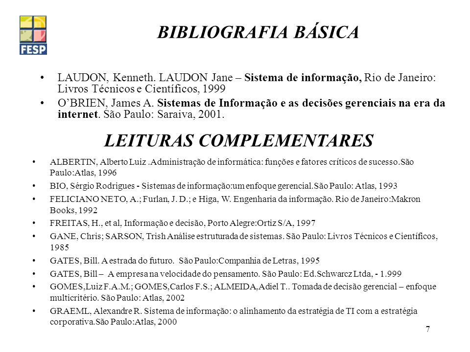 Fundação de Estudos Sociais do PR.8 LEITURAS COMPLEMENTARES (Cont.) HAMMER, Michel e James Champy – Reengenharia: revolucionando a empresa São Paulo:Campus, 1994.