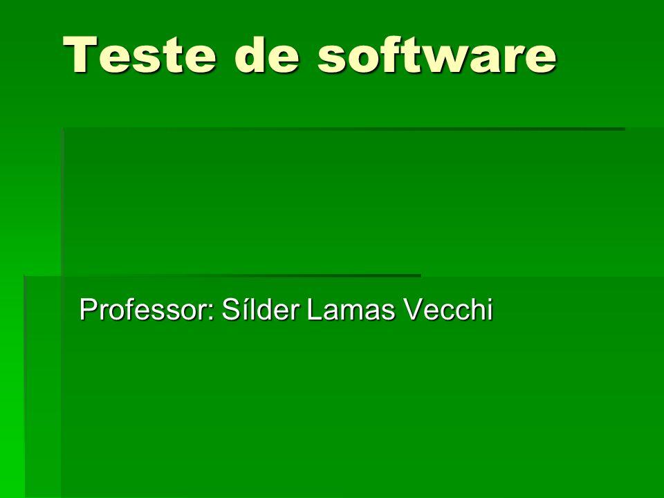 Teste de software Professor: Sílder Lamas Vecchi