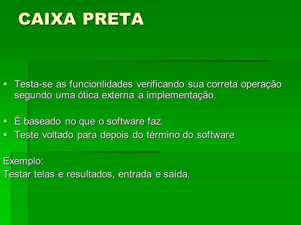 CAIXA PRETA Testa-se as funcionlidades verificando sua correta operação segundo uma ótica externa a implementação.