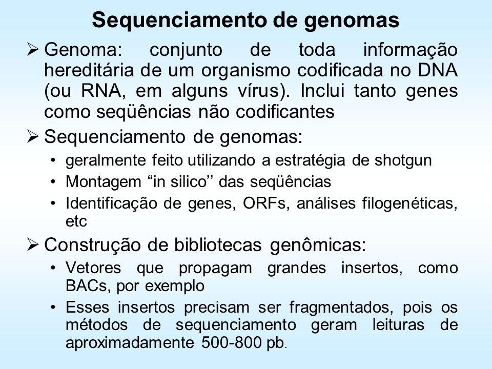 Sequenciamento de genomas Genoma: conjunto de toda informação hereditária de um organismo codificada no DNA (ou RNA, em alguns vírus). Inclui tanto ge