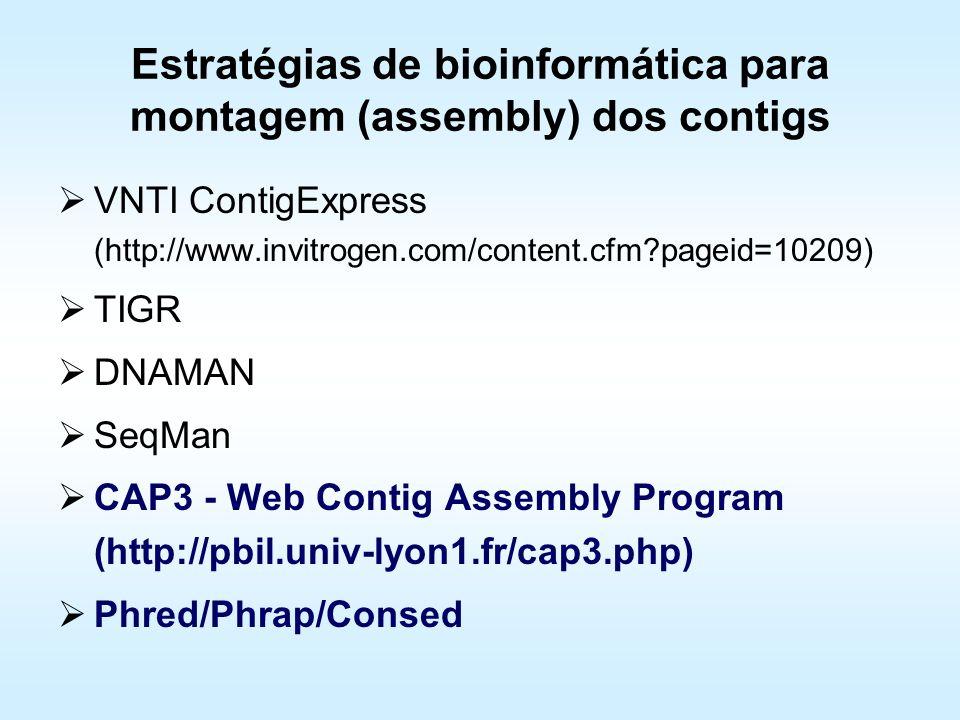 Estratégias de bioinformática para montagem (assembly) dos contigs VNTI ContigExpress (http://www.invitrogen.com/content.cfm?pageid=10209) TIGR DNAMAN