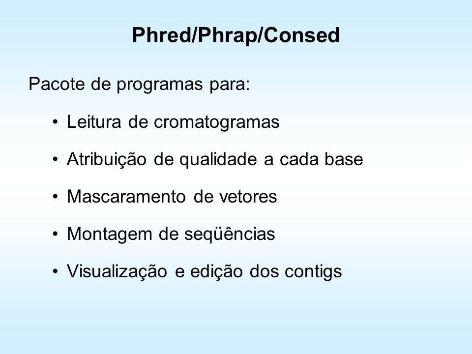Phred/Phrap/Consed Pacote de programas para: Leitura de cromatogramas Atribuição de qualidade a cada base Mascaramento de vetores Montagem de seqüênci