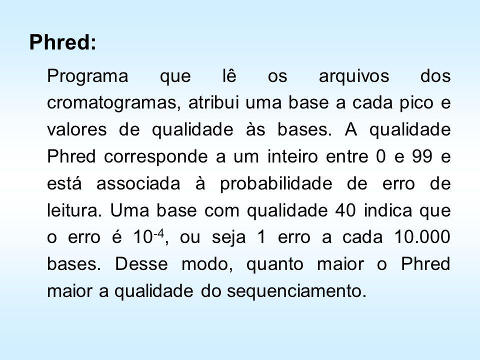 Phred: Programa que lê os arquivos dos cromatogramas, atribui uma base a cada pico e valores de qualidade às bases. A qualidade Phred corresponde a um