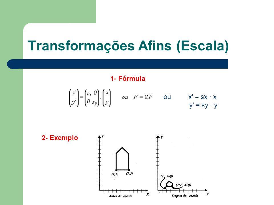 Transformações Afins (Escala) 1- Fórmula 2- Exemplo ou x' = sx · x y' = sy · y