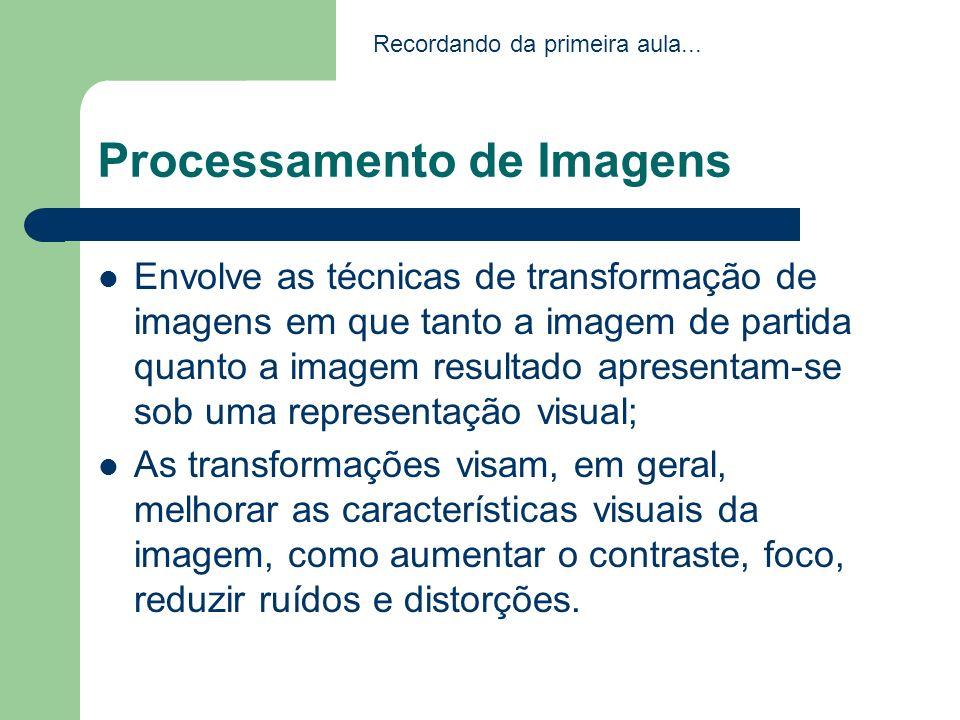 Processamento de Imagens Envolve as técnicas de transformação de imagens em que tanto a imagem de partida quanto a imagem resultado apresentam-se sob