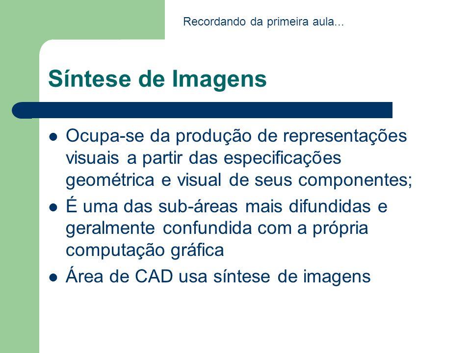Síntese de Imagens Ocupa-se da produção de representações visuais a partir das especificações geométrica e visual de seus componentes; É uma das sub-á
