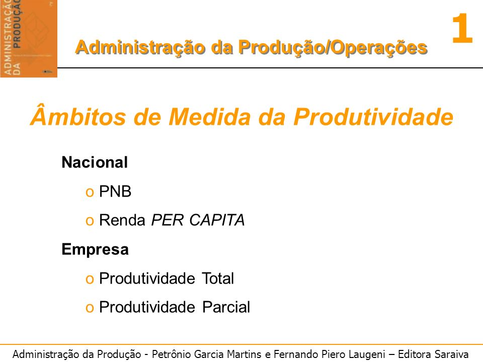 Administração da Produção - Petrônio Garcia Martins e Fernando Piero Laugeni – Editora Saraiva 1 Administração da Produção/Operações Âmbitos de Medida