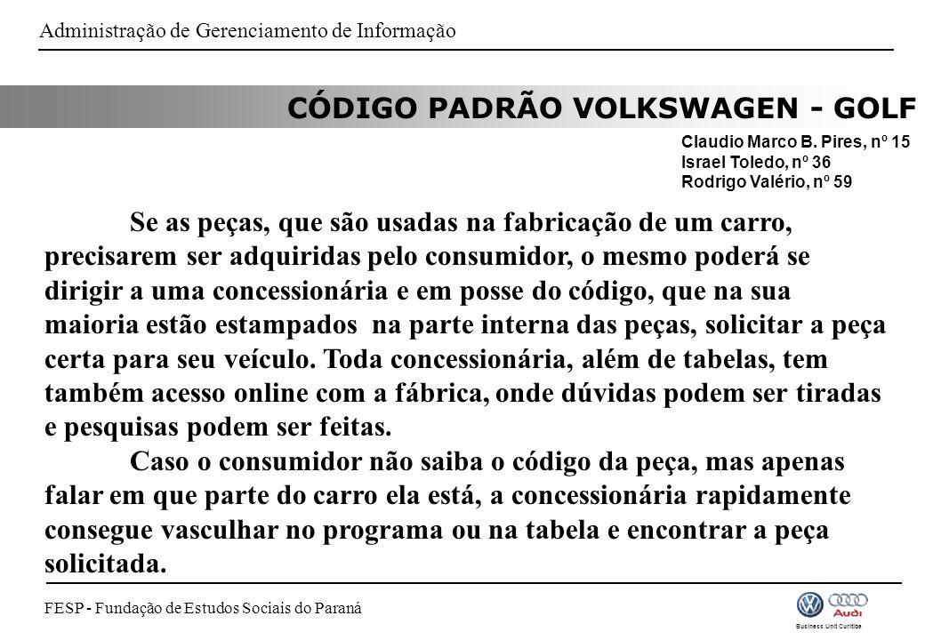 FESP - Fundação de Estudos Sociais do Paraná Business Unit Curitiba CÓDIGO PADRÃO VOLKSWAGEN - GOLF Claudio Marco B.
