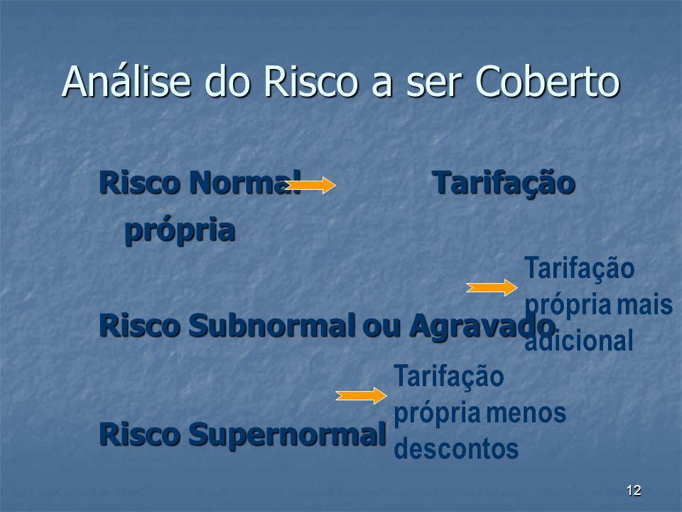 12 Análise do Risco a ser Coberto Risco Normal Tarifação própria Risco Subnormal ou Agravado Risco Supernormal Tarifação própria mais adicional Tarifa