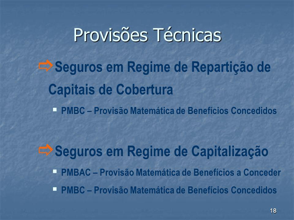18 Provisões Técnicas Seguros em Regime de Repartição de Capitais de Cobertura PMBC – Provisão Matemática de Benefícios Concedidos Seguros em Regime d