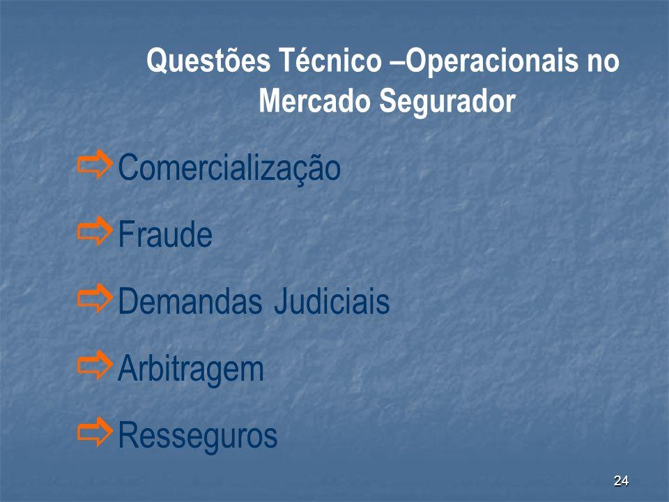 24 Comercialização Fraude Demandas Judiciais Arbitragem Resseguros Questões Técnico –Operacionais no Mercado Segurador