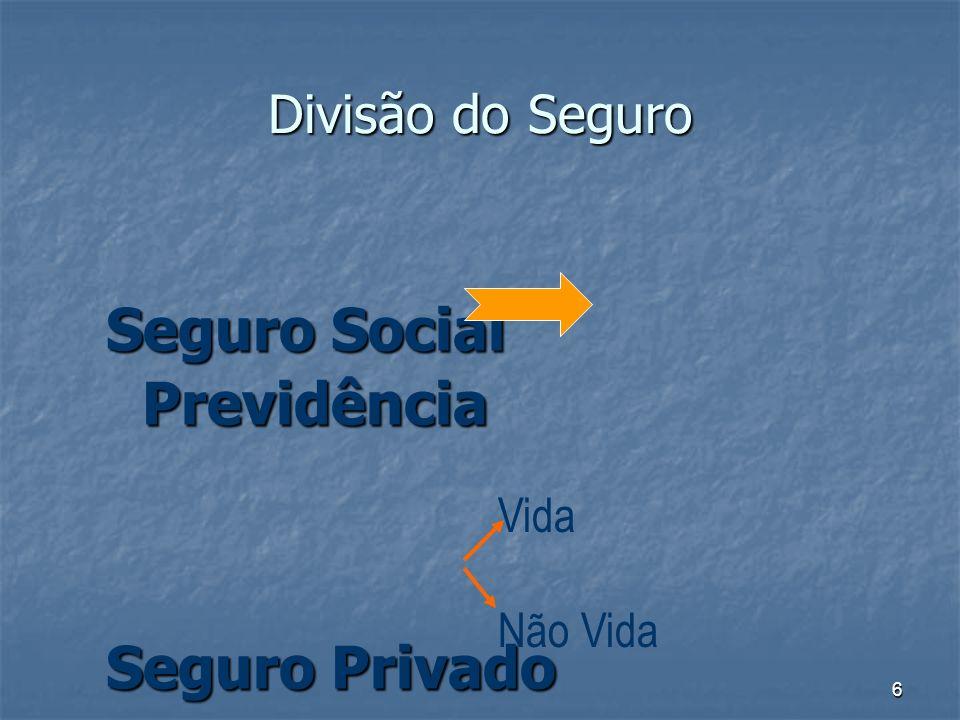 6 Divisão do Seguro Seguro Social Previdência Seguro Privado Vida Não Vida