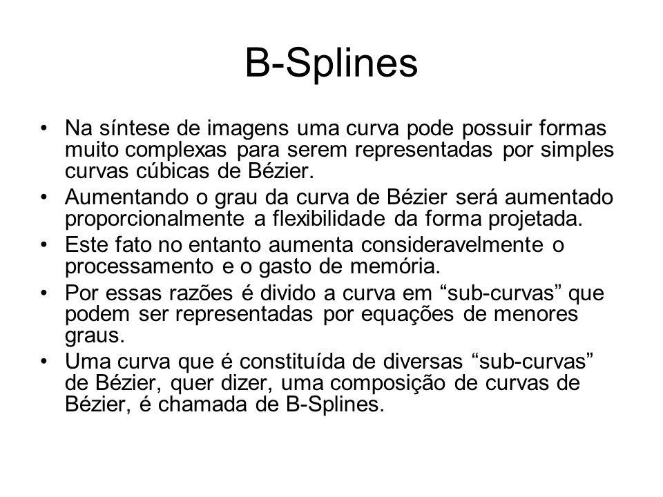 B-Splines Na síntese de imagens uma curva pode possuir formas muito complexas para serem representadas por simples curvas cúbicas de Bézier.