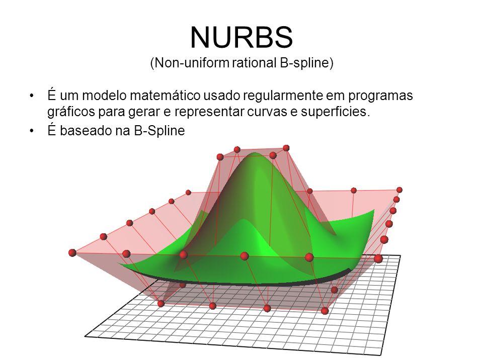 NURBS (Non-uniform rational B-spline) É um modelo matemático usado regularmente em programas gráficos para gerar e representar curvas e superficies.