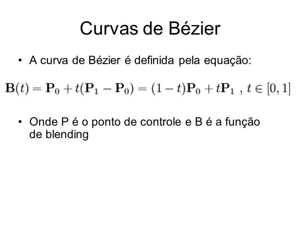 Curvas de Bézier A curva de Bézier é definida pela equação: Onde P é o ponto de controle e B é a função de blending