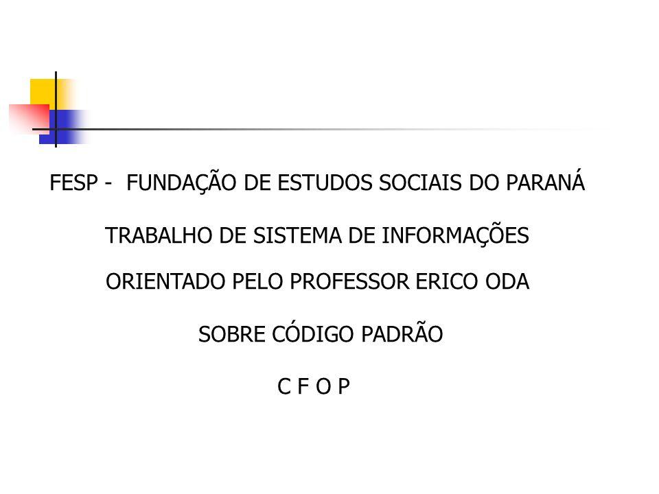 FESP - FUNDAÇÃO DE ESTUDOS SOCIAIS DO PARANÁ TRABALHO DE SISTEMA DE INFORMAÇÕES ORIENTADO PELO PROFESSOR ERICO ODA SOBRE CÓDIGO PADRÃO C F O P