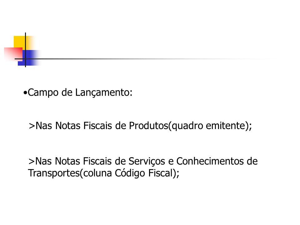 Campo de Lançamento: >Nas Notas Fiscais de Produtos(quadro emitente); >Nas Notas Fiscais de Serviços e Conhecimentos de Transportes(coluna Código Fisc