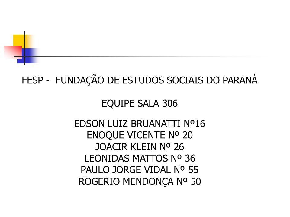 FESP - FUNDAÇÃO DE ESTUDOS SOCIAIS DO PARANÁ EQUIPE SALA 306 EDSON LUIZ BRUANATTI Nº16 ENOQUE VICENTE Nº 20 JOACIR KLEIN Nº 26 LEONIDAS MATTOS Nº 36 P