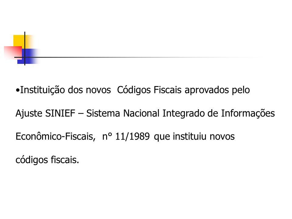 Instituição dos novos Códigos Fiscais aprovados pelo Ajuste SINIEF – Sistema Nacional Integrado de Informações Econômico-Fiscais, n° 11/1989 que insti