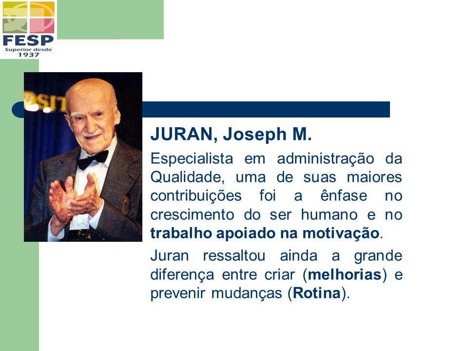 JURAN, Joseph M. Especialista em administração da Qualidade, uma de suas maiores contribuições foi a ênfase no crescimento do ser humano e no trabalho