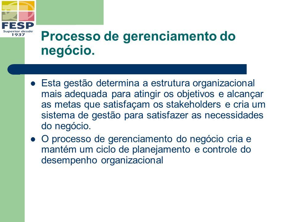 Processo de gerenciamento do negócio. Esta gestão determina a estrutura organizacional mais adequada para atingir os objetivos e alcançar as metas que