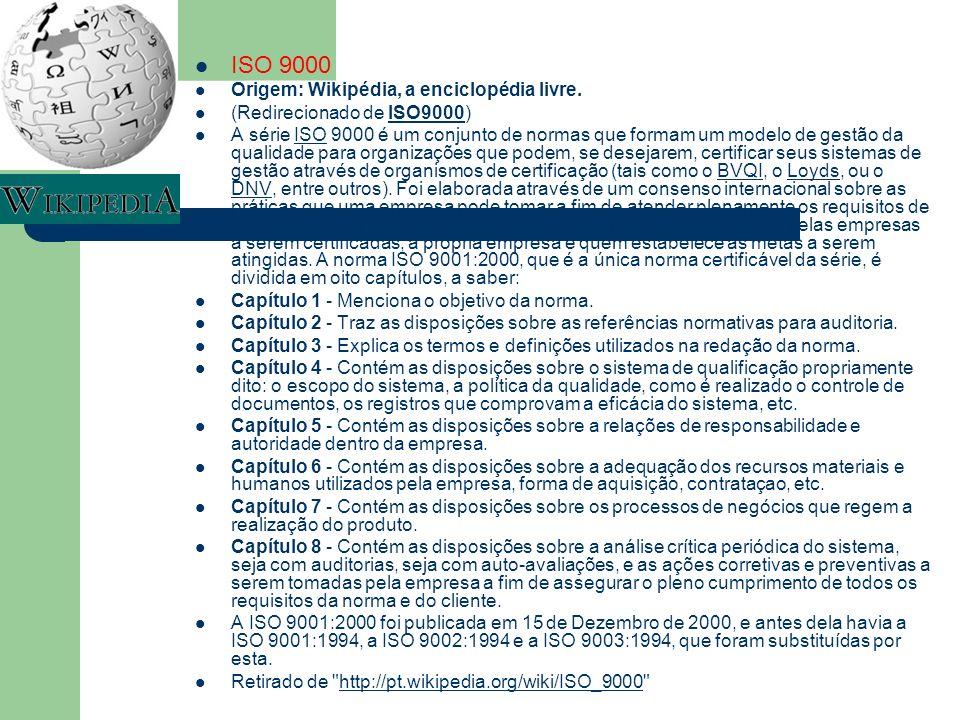 ISO 9000 Origem: Wikipédia, a enciclopédia livre. (Redirecionado de ISO9000)ISO9000 A série ISO 9000 é um conjunto de normas que formam um modelo de g