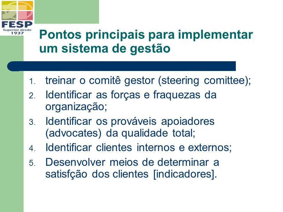 Pontos principais para implementar um sistema de gestão 1. treinar o comitê gestor (steering comittee); 2. Identificar as forças e fraquezas da organi