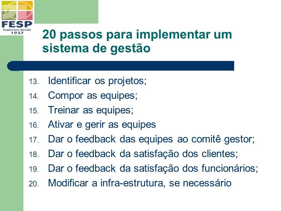 20 passos para implementar um sistema de gestão 13. Identificar os projetos; 14. Compor as equipes; 15. Treinar as equipes; 16. Ativar e gerir as equi